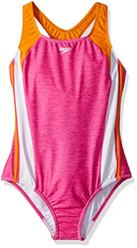 Speedo Girls Solid Infinity Splice, Bright Pink, Size 7