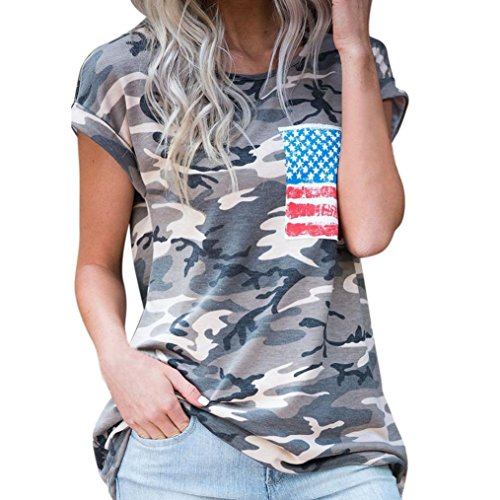 2017 Hot Shirt! AMA(TM) Women Short Sleeve Camouflage Loose Casual T-shirt Blouse Tops (XL, Camouflage)
