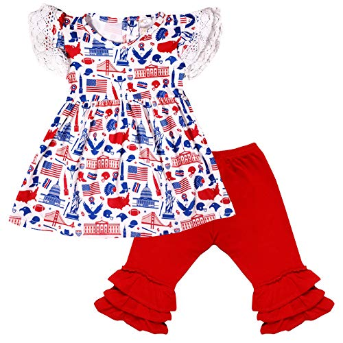 (Boutique Baby Girls July 4th Patriotic USA Icons Top Capri Set Red)