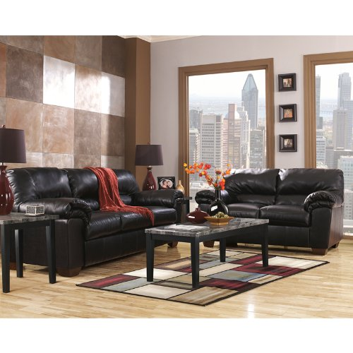 Ashley Furniture Signature Design - Commando Faux Leather Plush Loveseat - Contemporary - Black