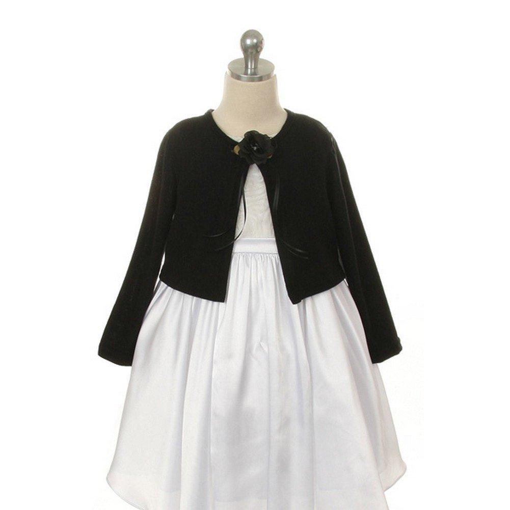Kids Dream Black Flower Special Occasion Cardigan Sweater Girls 8