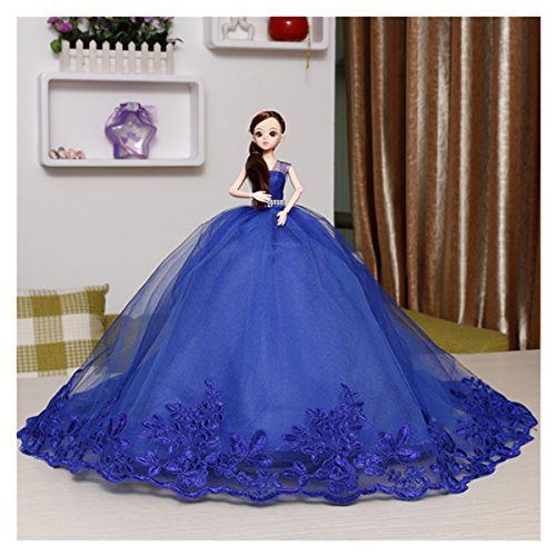 Kingbridal Bride Dolls Royal Blue Tulle Wedding Dress Appliques Princess Girls Barbie dolls Handmade Fashion Wedding Party Gowns Dresses Clothes girls kids birthday holidays Christmas Xmas Gifts by Kingbridal