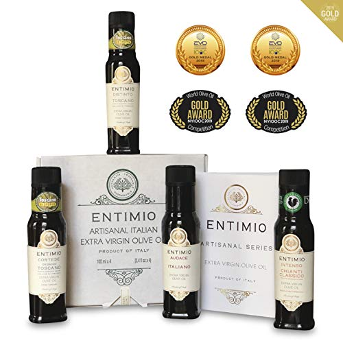 Entimio Collection   Extra Virgin Olive Oil Gift Set, Delicate to Robust Italian Olive Oil   2018 Harvest, Italy, Tuscany, Gold Awards   First Cold Pressed, Rich in Antioxidants   13.5 (4 x 3.4) fl oz