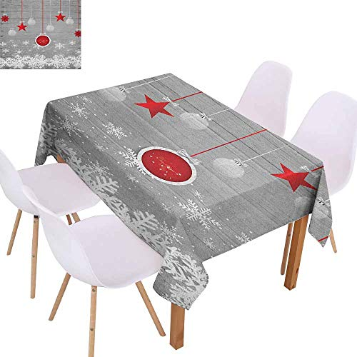 Polyester Tablecloth Christmas Traditional Celebration Theme with Pendant Stars Baubles Ornate Snowflakes Party W60 xL84 Grey Red