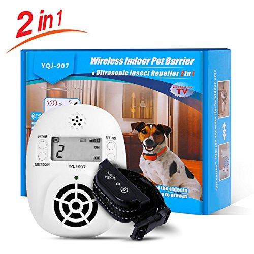 YHPOYLP 2 in 1 Pet Barriers Wireless Indoor Pet Fence with Pest Repellent, Adjustable Rechargeable Receiver Collar Waterproof, Pet Proofing for Cats and Dogs (Wireless indoor Pet Barrier)