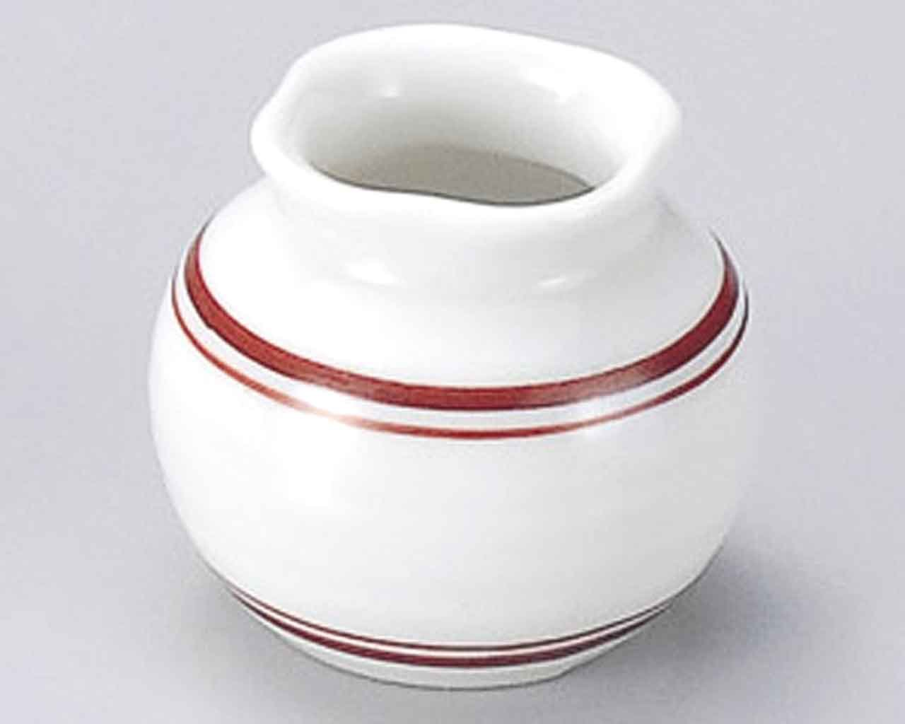 Red Lines 2.2inch Set of 5 Toothpick holders White porcelain Made in Japan