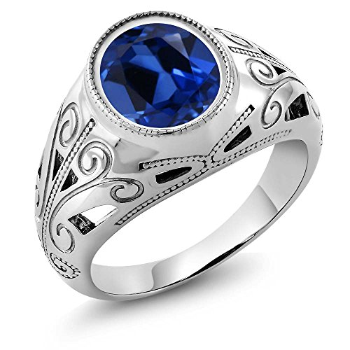 Gem Stone King 925 Sterling Silver Oval Blue Simulated Sapphire Men's Ring 6.13 Ct (Size 8)
