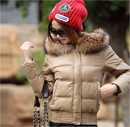 Kaki Fourrure Femme Taille De Avec Duvet Remplis Doudoune Blanc D'hivers Canard Bota Veste Courte Capuche Au L Blouson qn1OBOZEw