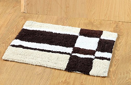 Home Castle Blocks Geometric Cotton Door Mat – 16″x24, Brown and White