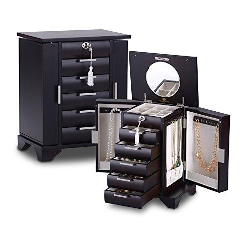 HERITAGE abschließbare handgefertigte Holz Schmuck Kiste mit Schlüssel, Espresso Schmuckschatulle Speicherorganisator -