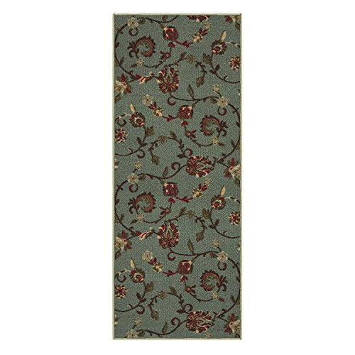Custom Size TEAL-GREEN Floral Rubber Backed Non-Slip Hallway Stair Runner Rug Carpet 31 inch Wide Choose Your Length 31in X 9ft