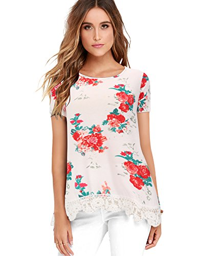 FISOUL Women's Tops Short Sleeve Lace Trim O-Neck A-Line Floral Printed Tunic Tops XX-Large White-Short Sleeve ()