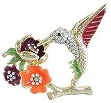 Sindary 2.17'' Pretty Animal Bird Hummingbird Brooch Pin Clear Rhinestone Crystal BZ2111 (Gold-Tone Red)