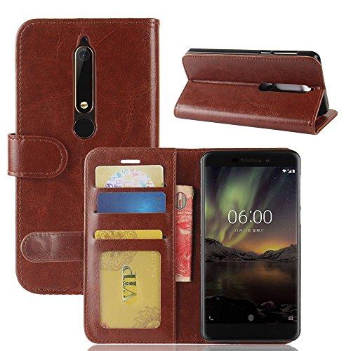 Nokia 6 (2018) Funda DISLAND [Lisa] [Caso de carpeta] Soporte tarjeta Flip Slots PU cuero funda piel para Nokia 6 (2018),Rojo Brown