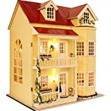 Wooden Dollhouse Miniatures DIY House Kit W/led Light and Music--large Villa