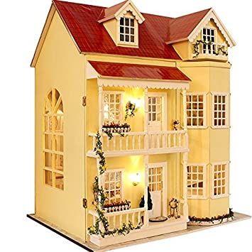Wooden Dollhouse Miniatures DIY House Kit W/led Light And Music  Large Villa