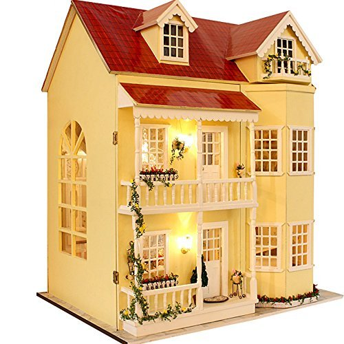 Cuteroom Wooden Dollhouse Miniatures DIY House Kit W/led Light and MusicLarge Villa