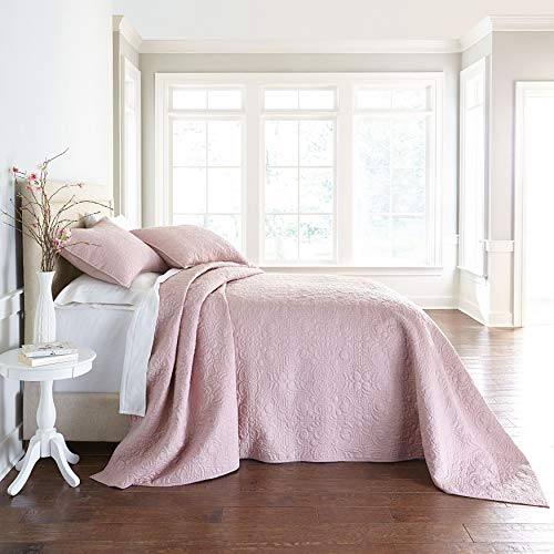 BrylaneHome Serena Embroidered Bedspread - Pale Rose, King