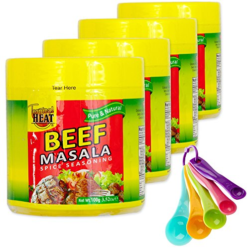 Beef Masala Gourmet Collection Seasoning Spices Gift Set | All Pure & Natural Cooking Flavor. No MSG Added | 4 Bottles & Free Measuring Spoons Set | Tropical Heat (Beef)