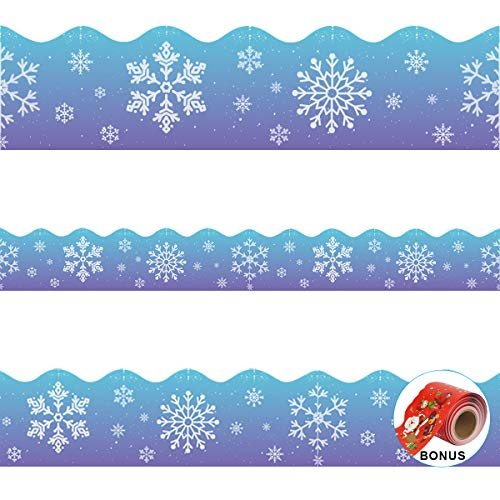 Christmas Bulletin Board Borders, Yoklili 2-Rolls Snowflakes Santa Claus Reindeer Elf Snowman Theme Scalloped Border Trim for Classroom Chalkboard Whiteboard Home Decoration, 72 ft