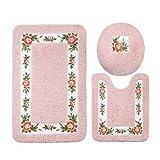 JSJ_CHENG Non-Slip Pink Rose Floral Bathroom Toilet Shower Bath Rugs and Mats Set of 3pcs Rectangular 19.6'' x 31.4'' + U Shape 19.6'' x 23.6'' + lid Cover