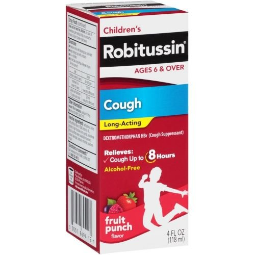 Robitussin Childrens Fruit Punch Long Acting 8 Hour Cough Liquid Syrup, 4 Fluid Ounce -- 24 per case.
