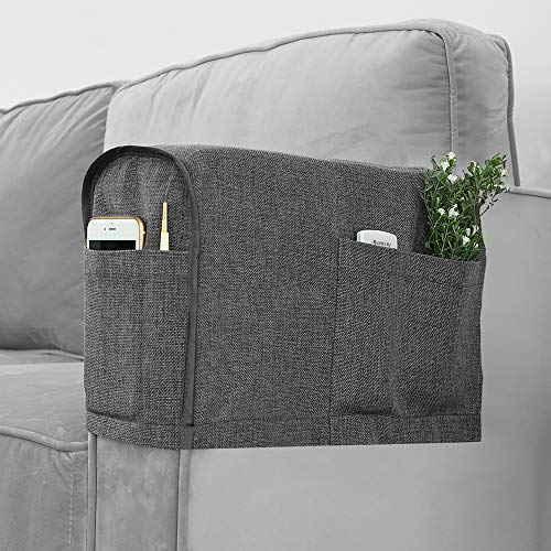 Joywell Armrest Covers Anti-Slip Sofa Arm Protector for Living Room, Armchair Slipcover for Armrest Recliner with 4 Pockets for Tv Remote, Phone, Set of 2, Gray