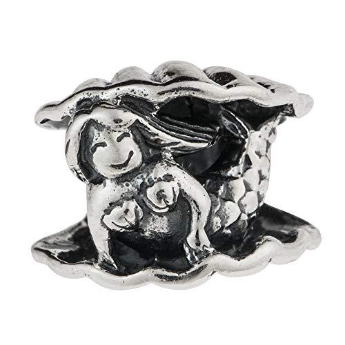 - Queenberry Sterling Silver Little Mermaid W/Sea Shell European Style Bead Charm