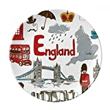England Landscap Animals National Flag Dessert Plate Decorative Porcelain 8 inch Dinner Home