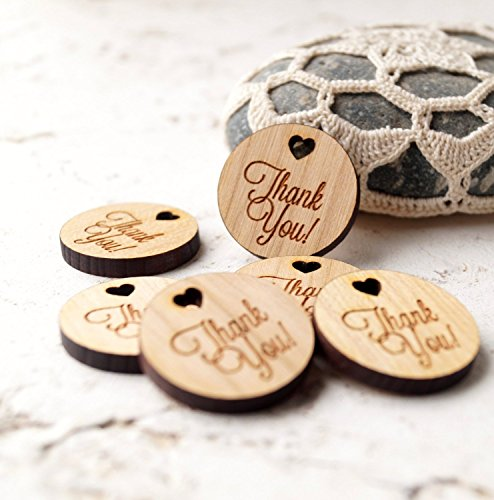 Wedding favor tags, thank you tags, wooden tags, day wedding favor, gift, shower tags, real wood tags, laser cut engraved tags – Set of 25 pieces