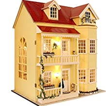 Wooden Dollhouse Miniatures DIY House Kit W/led Light and Music--large Villa by Cuteroom