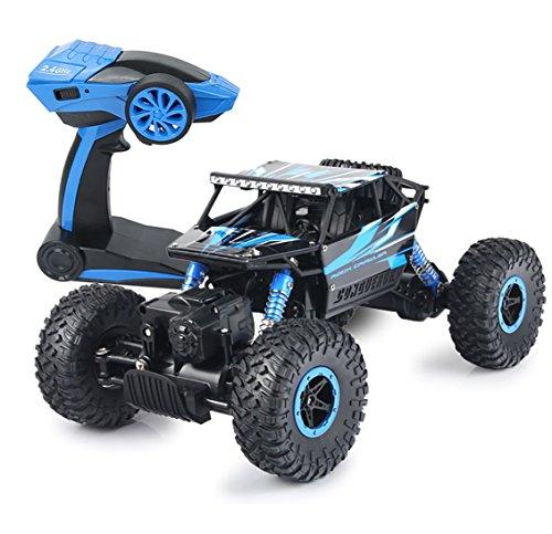 Rc Car,KingPow Remote Control Car 2.4GHz Electric Rock Crawler Radio Control Remote Car With High Speed 25Kilometer/h Racing Off Road Rc Truck – Blue