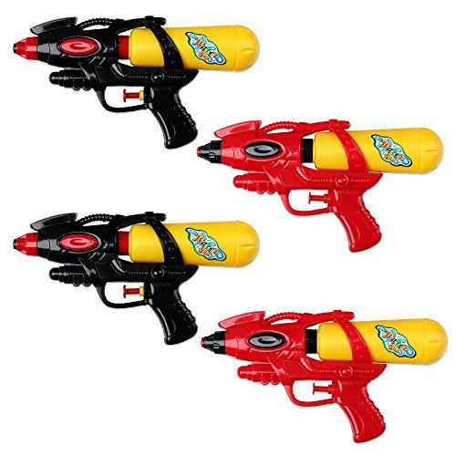 S/O® 4er Pack Wasserpistole 21cm mit Tank rot / schwarz Wasserpistolen Wasser Pistole Water Gun Watergun Wassergewehr Wassergewehre