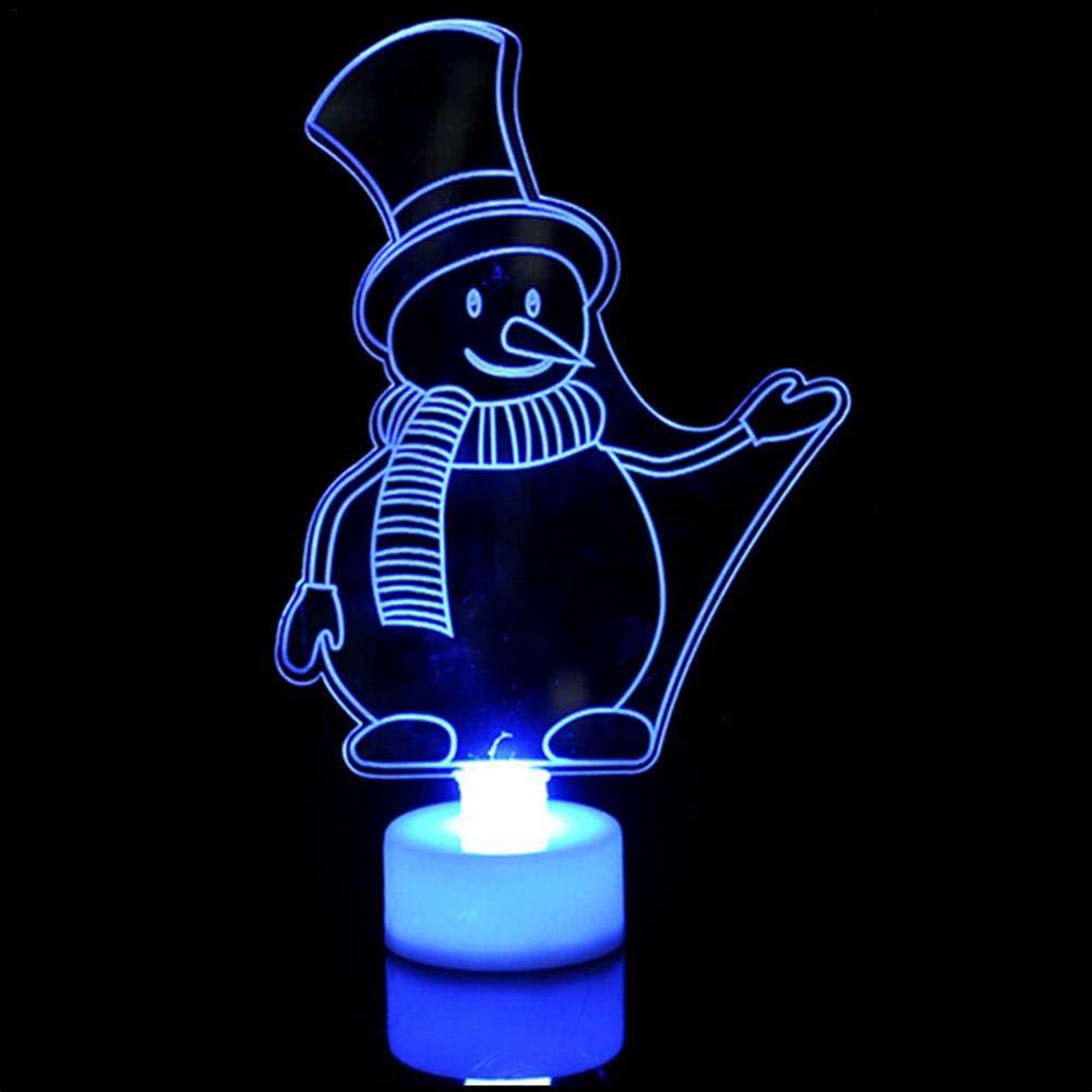 Veilleuse enfant, cadeau de Noë l Cré atif 3D Snown homme veilleuse 7 couleurs LED lampe dé coration table lumineuse lampe de bureau Atuo Rainbow changement de couleur Cosy-TT