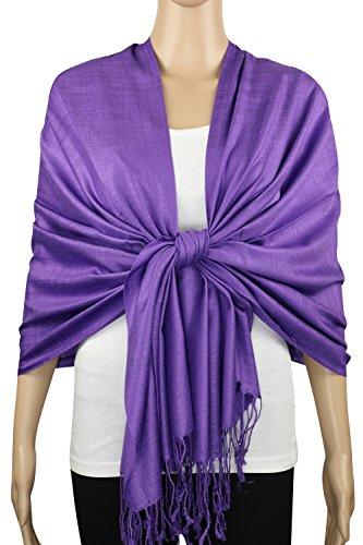 n Feel Soft Silky Pashmina Solid Shawl Wrap Scarf (Blue Violet) (Super Soft Scarf)