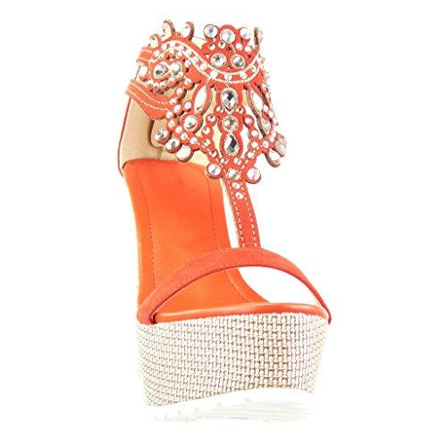 Angkorly - Scarpe da Moda sandali cinturino zeppe donna gioielli ricamo Tacco zeppa piattaforma 13 CM - Rosso