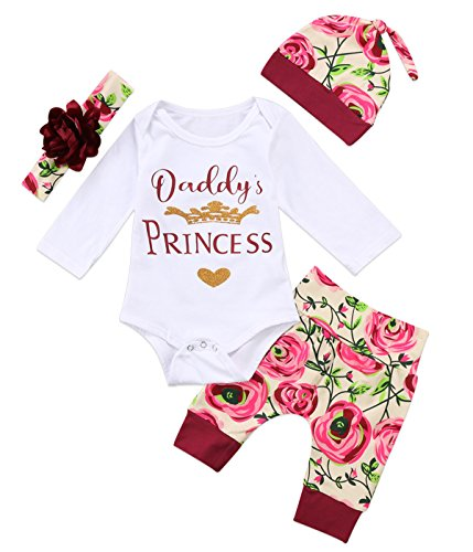 Baby Girls 4Pcs Clothes Set Daddy's Princess Gold Crown Heart Romper Floral Print Hat Headband Pants Outfit Set (0-9 Months) (Gold Floral Heart)