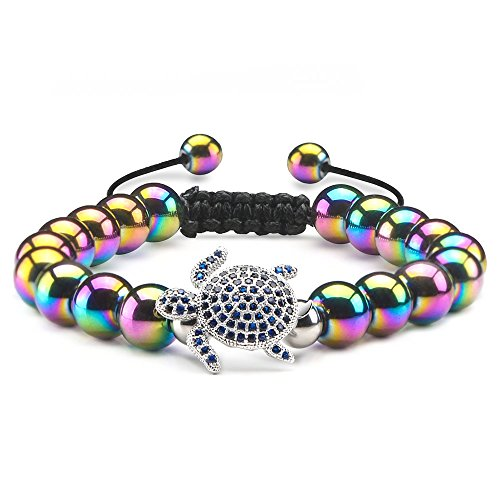 (Jeka Dainty Turtle Charm Animal Rainbow Hematite Bracelet for Women Girls Therapy Healing Energy 8mm Semi Precious Gemstones Colorful Beads for Balancing Meditation Yoga Graduation)