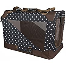Pet Life Vista-View 360 Soft Folding Collapsible Travel Pet Dog Crate, Polka Dot, Extra Small