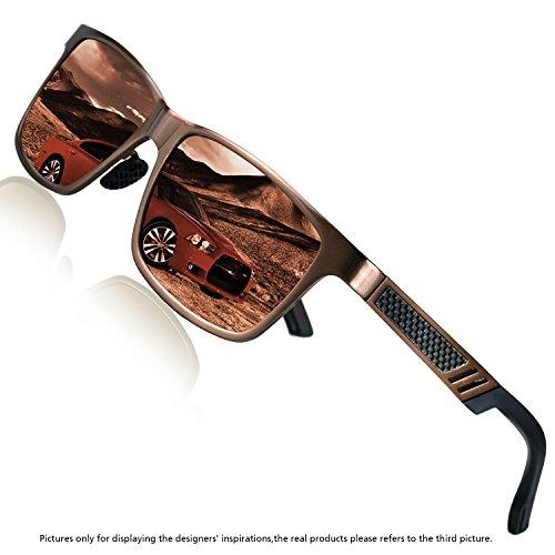 Rocknight Polarized UV Protection Men's Sunglasses Wayfarer Full Frame Brown Flat Mirror Lens Outdoor Fashion - Lenses Prescription Tint Gradient