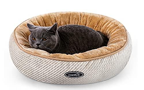 Pecute Cama para Gatos y Cachorros Ovalada (50 cm) – Lavable a máquina de Felpa Acolchada Suave y cómoda (Beige)