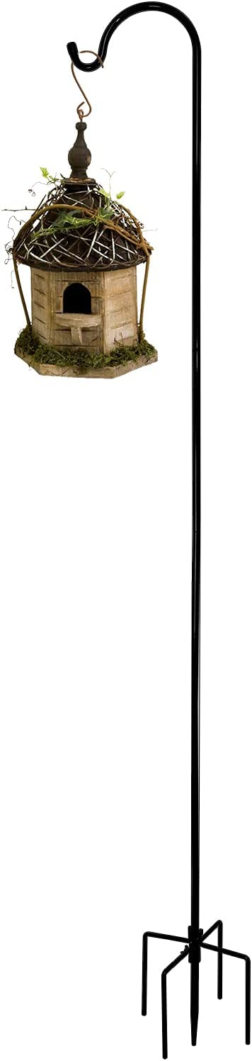 FEED GARDEN 92 Inch Shepherd Hook,5 Prongs Base,3/5 Inch Thick Pipe, Adjustable,Strong Metal,Heavy Duty Tall Garden Hooks for Outdoor Wedding for Hanging Plant Basket,Lantern,Decoration,Black (1 Pack)