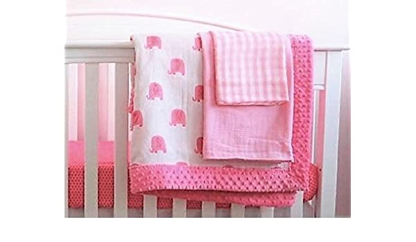 3e2d6ab9f3325 Amazon.com   Amazing Baby Crib Bedding Set for GIRLS ( Minky-Quilt-Double  Gauze-Organic Cotton-Swaddle Blankets) This pattern Elephants is sold out
