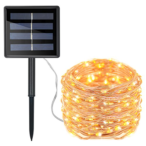 Moreplus Solar String Lights 72ft 200 LED Copper Wire Lights Indoor/Outdoor IP65 Waterproof 8 Modes Decorative String Lights for Patio, Garden, Gate, Yard, Party, Wedding, Christmas (Warm White)