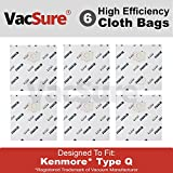 Kenmore Genuine HEPA Cloth Canister Vacuum Bags Type Q - (6 Bags Included) By VacSure
