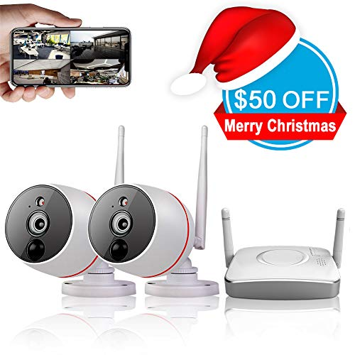 Remote Home Monitoring Security Camera System Wireless, 2pcs Wi-Fi Cameras 1080P(2.0mp) + 4CH Gateway(Recorder), PIR Motion Detection Recording System, 2-Way Audio, View by Phone App
