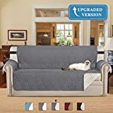Microfiber Sofa Chair Protector / Slipcovers with Elastic Straps Stay in Place, Reversible Quilted Furniture Protector Protect from Dogs/Cats, Spills, Wear and Tear(Sofa: Gray/ Beige) - 75'' X 110''