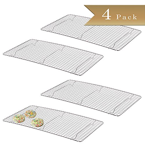 4 - TrueCraftware Chrome Plated Wire Pan Grate - Cooling Racks 10 inch x 18 inch