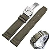 Canvas Nylon Genuine Leather Watch Band Replacement Wrist Band with Butterfly Development Folding Clasp Buckle Sports Military Retro Men Watchbands