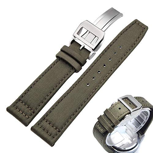 Canvas Nylon Genuine Leather Watch Band Replacement Wrist Band with Butterfly Development Folding Clasp Buckle Sports Military Retro Men Watchbands ()